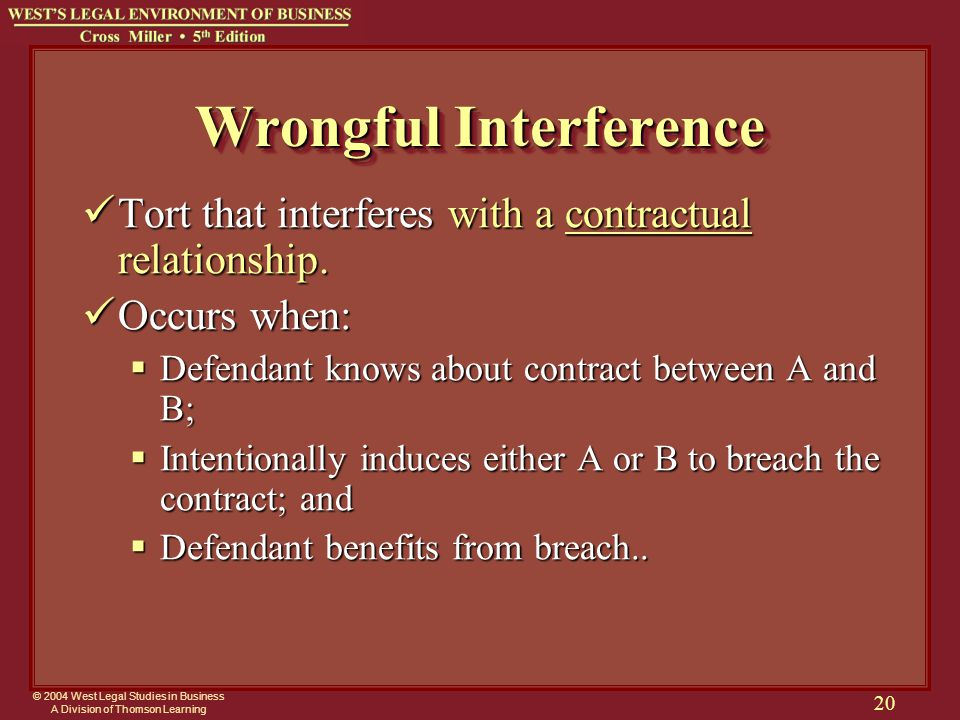 © 2004 West Legal Studies in Business A Division of Thomson Learning 20 Wrongful Interference Tort that interferes with a contractual relationship.