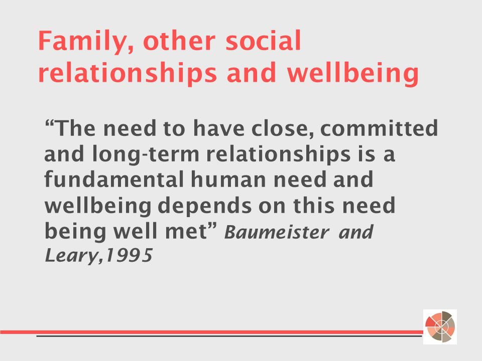 Family, other social relationships and wellbeing The need to have close, committed and long-term relationships is a fundamental human need and wellbeing depends on this need being well met Baumeister and Leary,1995