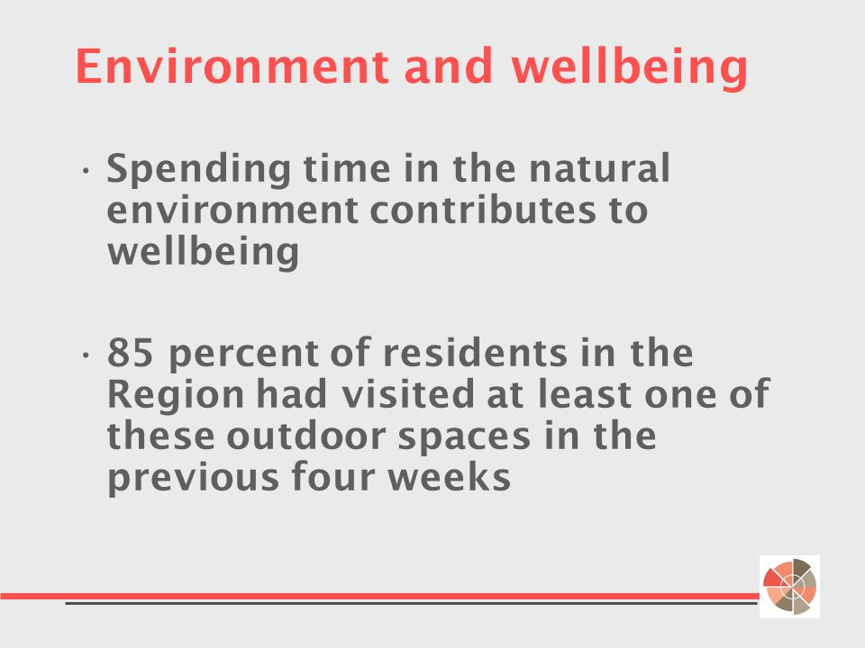 Environment and wellbeing Spending time in the natural environment contributes to wellbeing 85 percent of residents in the Region had visited at least one of these outdoor spaces in the previous four weeks