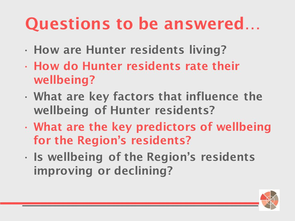 Questions to be answered… How are Hunter residents living.