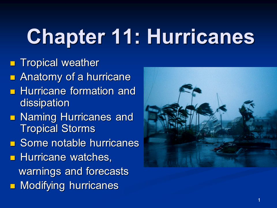 Chapter 11 Hurricanes Tropical Weather Tropical Weather Anatomy Of