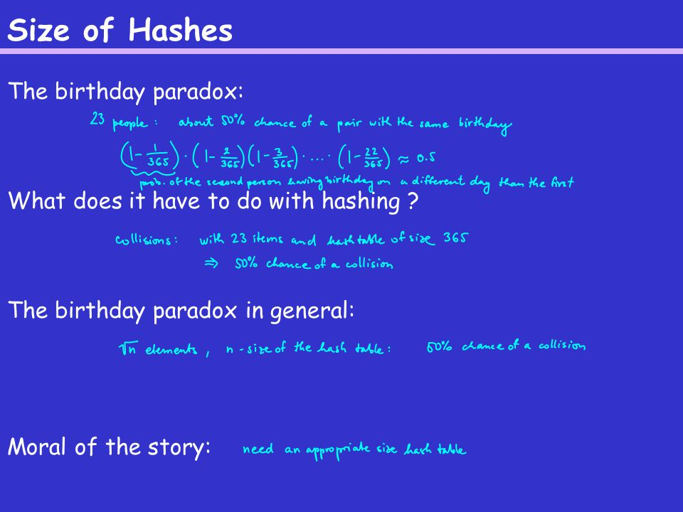 Size of Hashes The birthday paradox: What does it have to do with hashing .