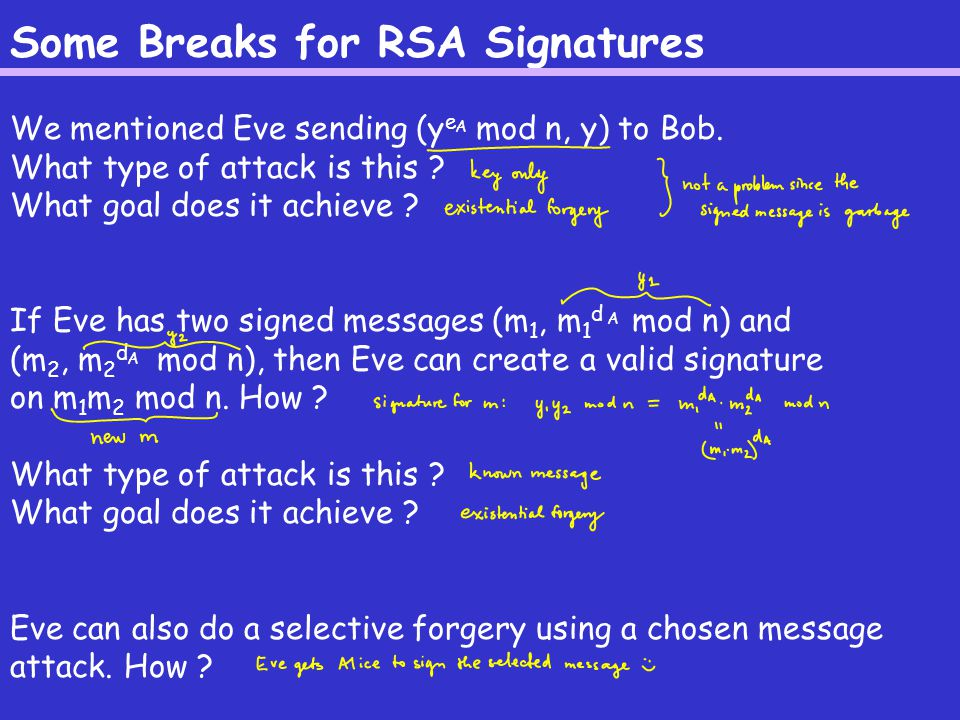 Some Breaks for RSA Signatures We mentioned Eve sending (y e mod n, y) to Bob.