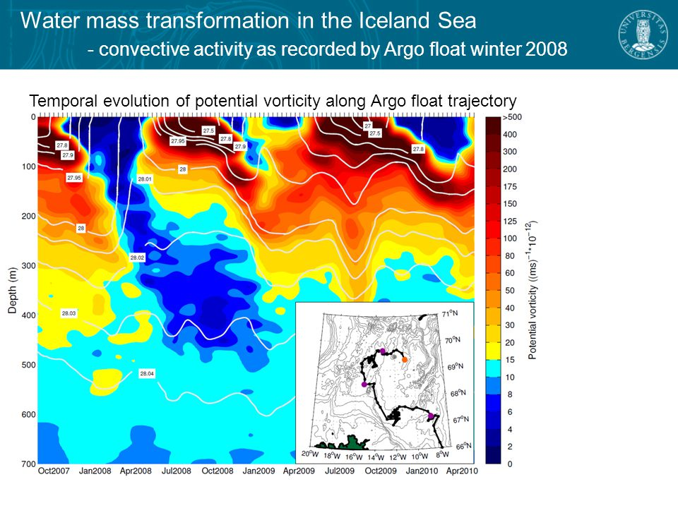 Temporal evolution of potential vorticity along Argo float trajectory Water mass transformation in the Iceland Sea - convective activity as recorded by Argo float winter 2008