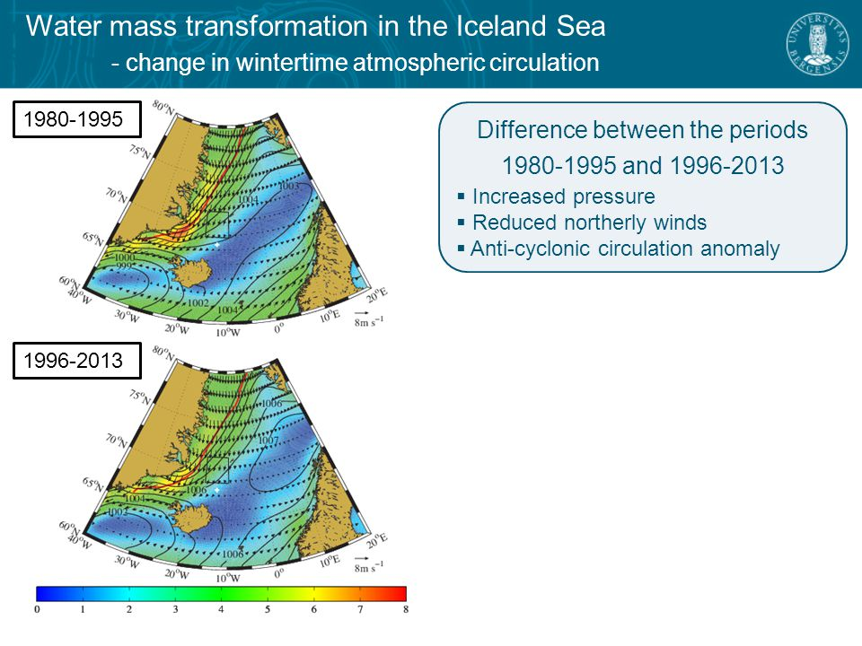 Water mass transformation in the Iceland Sea - change in wintertime atmospheric circulation Difference between the periods and  Increased pressure  Reduced northerly winds  Anti-cyclonic circulation anomaly