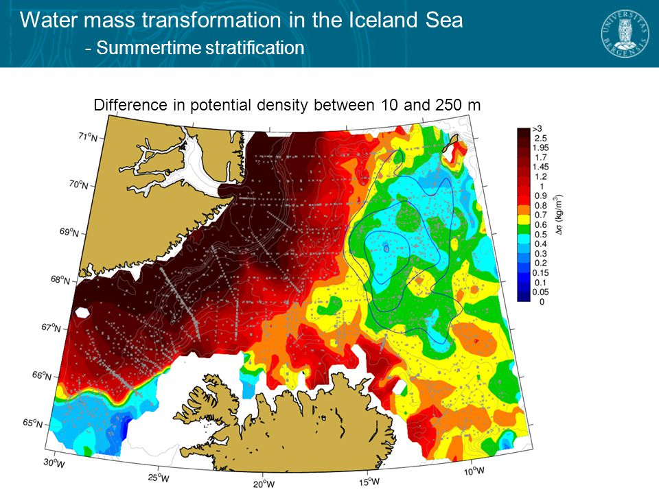 Water mass transformation in the Iceland Sea - Summertime stratification Difference in potential density between 10 and 250 m
