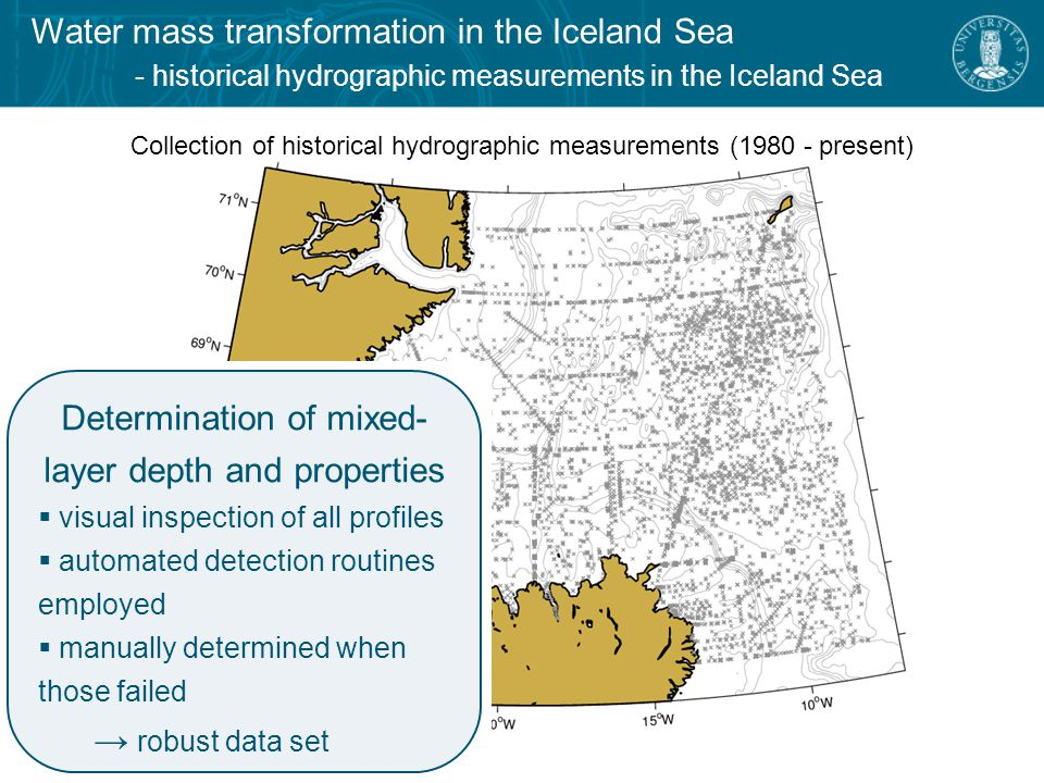 Water mass transformation in the Iceland Sea - historical hydrographic measurements in the Iceland Sea Collection of historical hydrographic measurements ( present) Determination of mixed- layer depth and properties  visual inspection of all profiles  automated detection routines employed  manually determined when those failed → robust data set