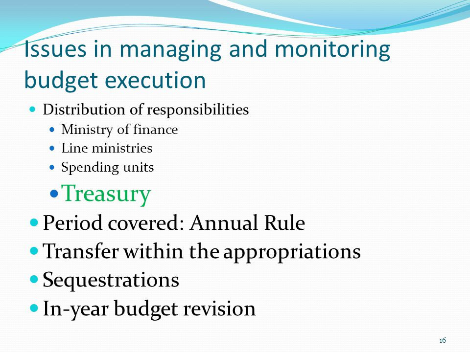 Issues in managing and monitoring budget execution Distribution of responsibilities Ministry of finance Line ministries Spending units Treasury Period covered: Annual Rule Transfer within the appropriations Sequestrations In-year budget revision 16