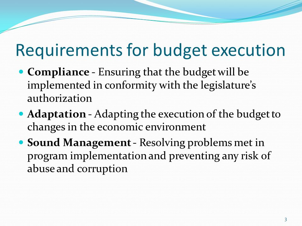 Requirements for budget execution Compliance - Ensuring that the budget will be implemented in conformity with the legislature's authorization Adaptation - Adapting the execution of the budget to changes in the economic environment Sound Management - Resolving problems met in program implementation and preventing any risk of abuse and corruption 3