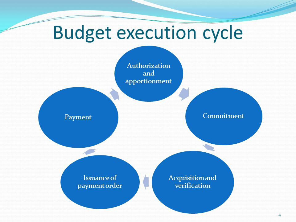 Budget execution cycle Authorization and apportionment Commitment Acquisition and verification Issuance of payment order Payment 4