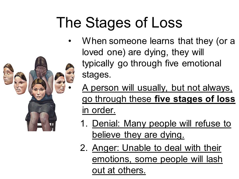 The Stages of Loss When someone learns that they (or a loved one) are dying, they will typically go through five emotional stages.
