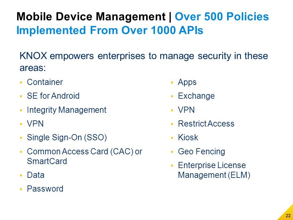 Samsung All rights reserved  KNOX The Next Secure Enterprise Mobile