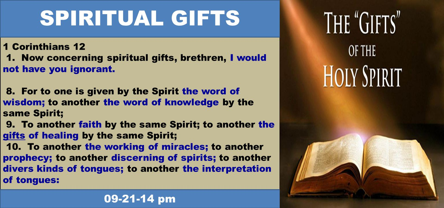 1 Corinthians Now concerning spiritual gifts, brethren, I would not have you ignorant.