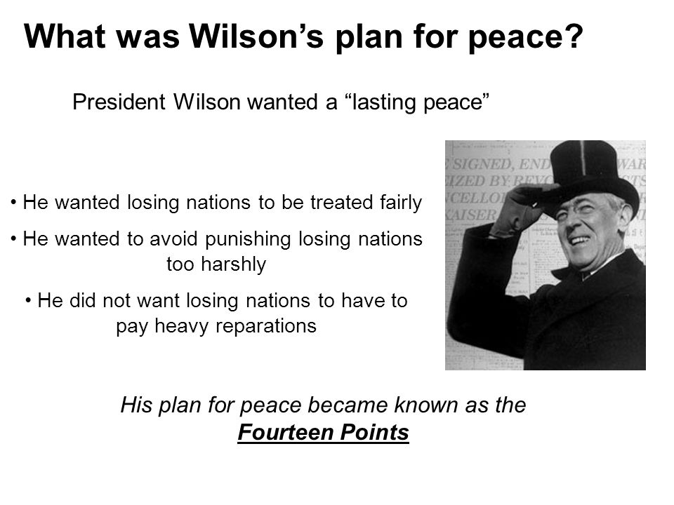 What was Wilson's plan for peace.