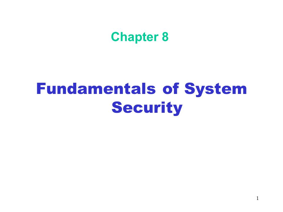 1 Chapter 8 Fundamentals of System Security