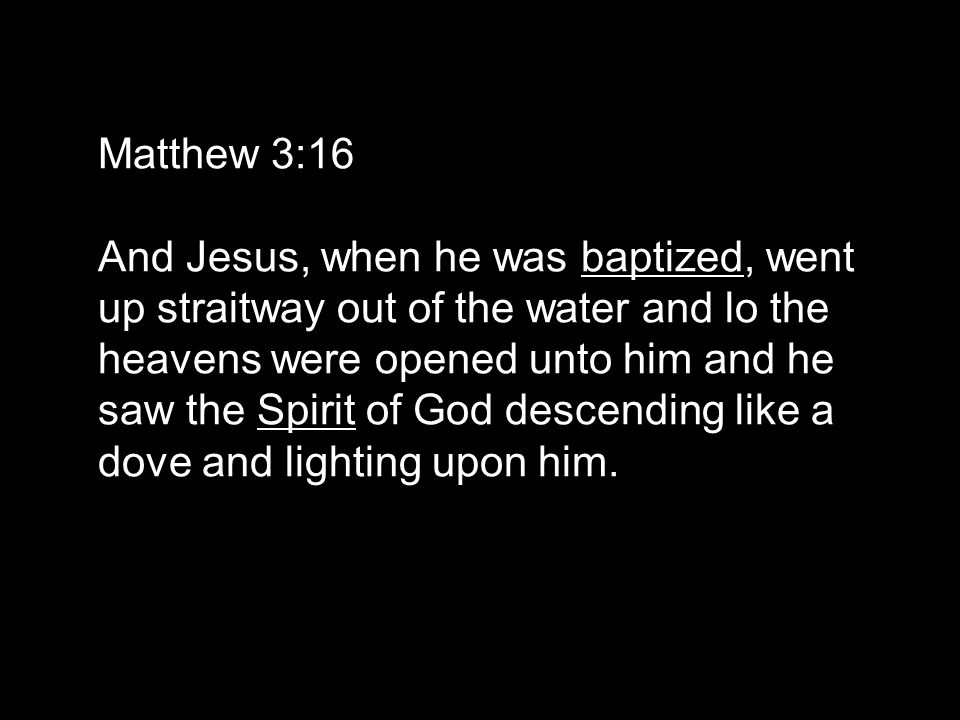 Matthew 3:16 And Jesus, when he was baptized, went up straitway out of the water and lo the heavens were opened unto him and he saw the Spirit of God descending like a dove and lighting upon him.