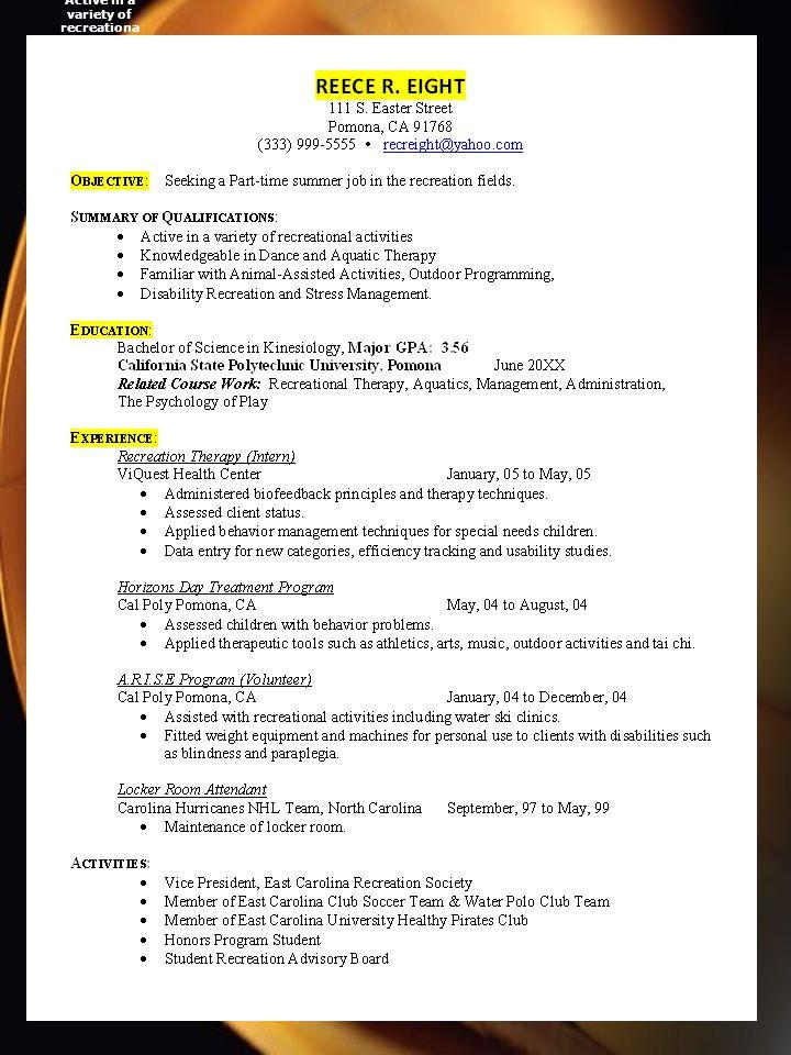 A Good Resume Sample REECE R. EIGHT 111 S.