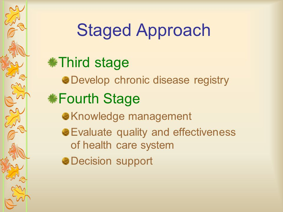 Staged Approach Third stage Develop chronic disease registry Fourth Stage Knowledge management Evaluate quality and effectiveness of health care system Decision support
