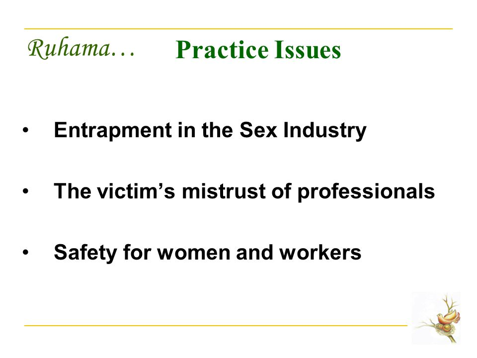 Ruhama… Practice Issues Entrapment in the Sex Industry The victim's mistrust of professionals Safety for women and workers