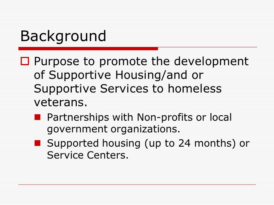Department of Veterans Affairs Homeless Providers Grant and