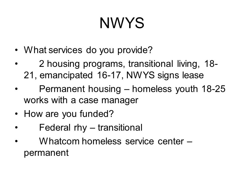 NWYS What services do you provide.