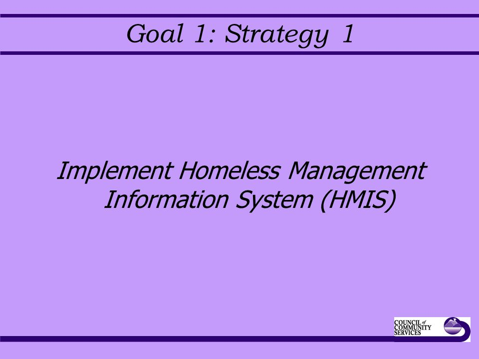 Goal 1: Strategy 1 Implement Homeless Management Information System (HMIS)