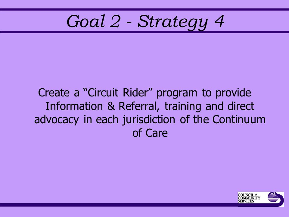 Goal 2 - Strategy 4 Create a Circuit Rider program to provide Information & Referral, training and direct advocacy in each jurisdiction of the Continuum of Care