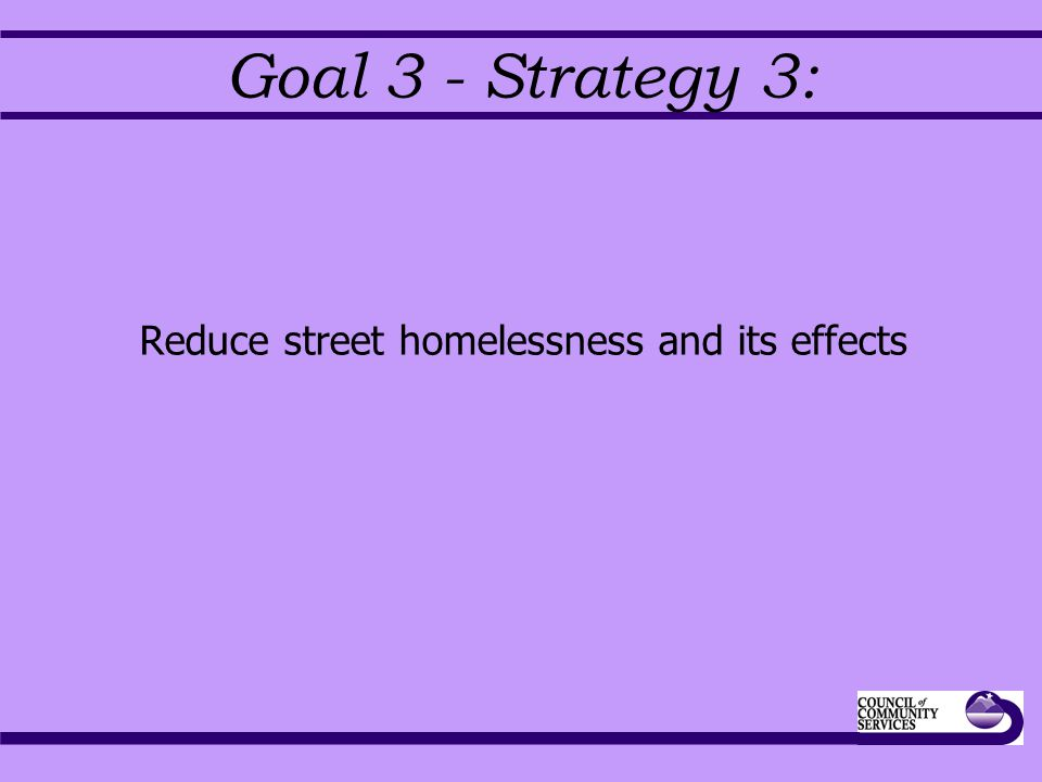 Goal 3 - Strategy 3: Reduce street homelessness and its effects