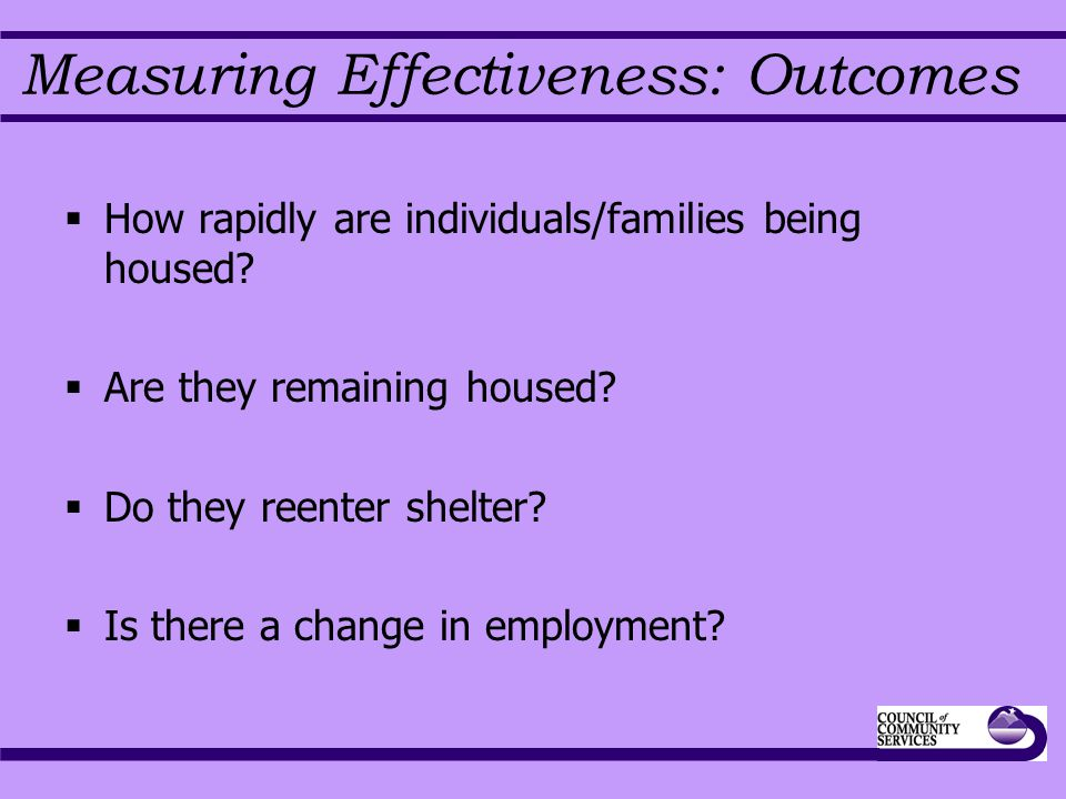 Measuring Effectiveness: Outcomes  How rapidly are individuals/families being housed.