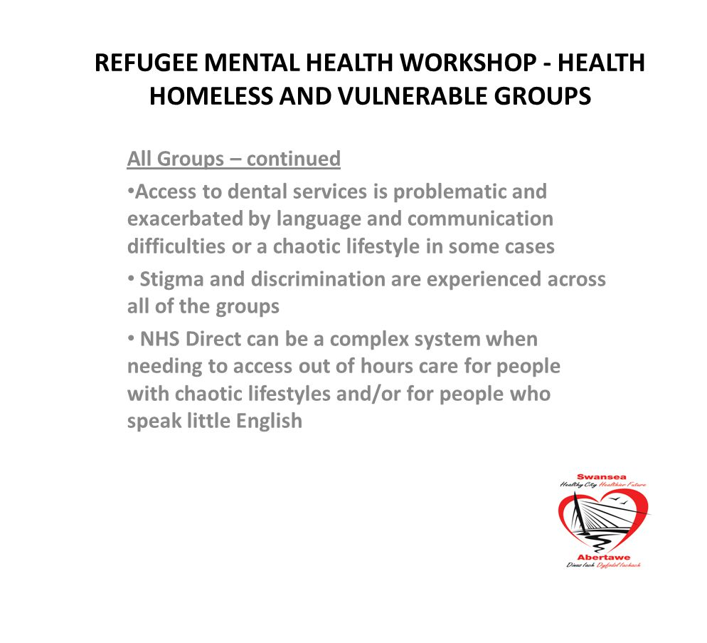 Refugee Mental Health Workshop Health Homeless And Vulnerable