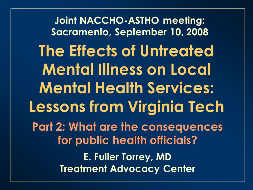 The Effects Of Untreated Mental Illness On Local Mental Health