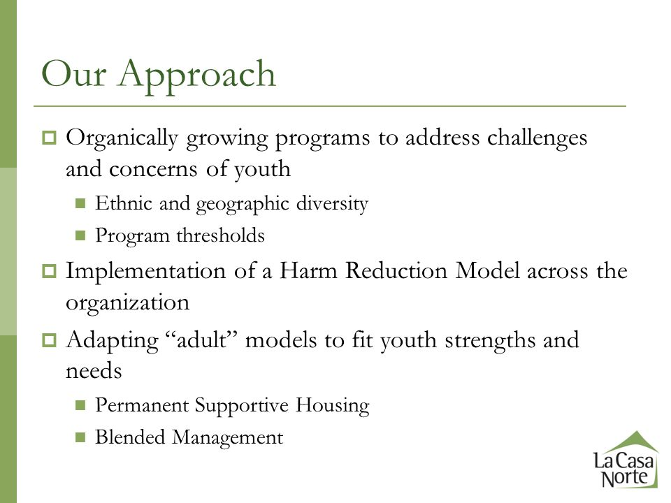 Our Approach  Organically growing programs to address challenges and concerns of youth Ethnic and geographic diversity Program thresholds  Implementation of a Harm Reduction Model across the organization  Adapting adult models to fit youth strengths and needs Permanent Supportive Housing Blended Management