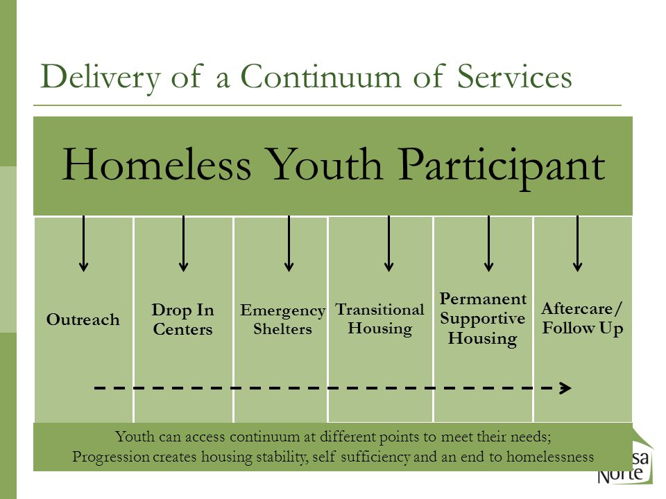 Outreach Drop In Centers Emergency Shelters Transitional Housing Permanent Supportive Housing Aftercare/ Follow Up Youth can access continuum at different points to meet their needs; Progression creates housing stability, self sufficiency and an end to homelessness Delivery of a Continuum of Services Homeless Youth Participant
