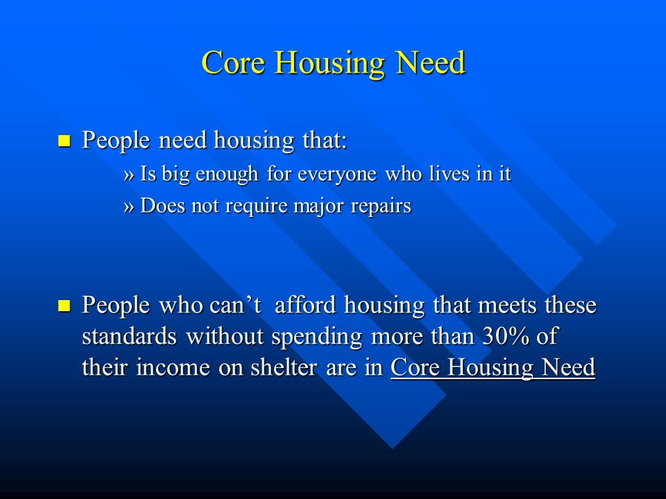 Core Housing Need People need housing that: People need housing that: »Is big enough for everyone who lives in it »Does not require major repairs People who can't afford housing that meets these standards without spending more than 30% of their income on shelter are in Core Housing Need People who can't afford housing that meets these standards without spending more than 30% of their income on shelter are in Core Housing Need