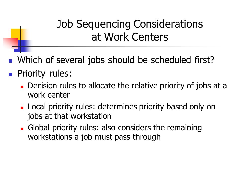 Job Sequencing Considerations at Work Centers Which of several jobs should be scheduled first.