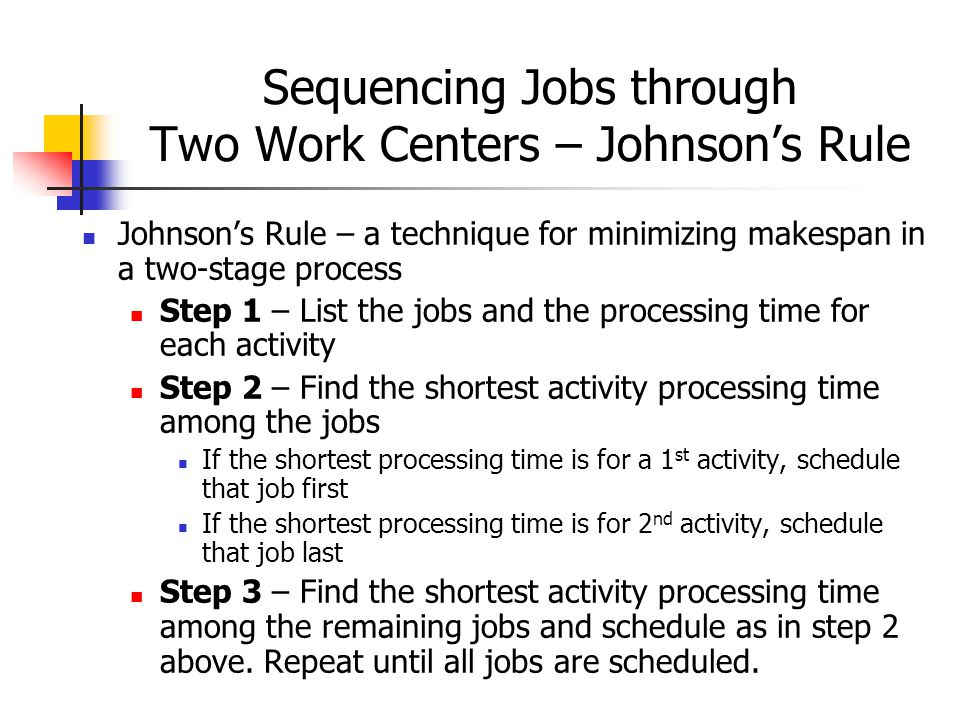 Sequencing Jobs through Two Work Centers – Johnson's Rule Johnson's Rule – a technique for minimizing makespan in a two-stage process Step 1 – List the jobs and the processing time for each activity Step 2 – Find the shortest activity processing time among the jobs If the shortest processing time is for a 1 st activity, schedule that job first If the shortest processing time is for 2 nd activity, schedule that job last Step 3 – Find the shortest activity processing time among the remaining jobs and schedule as in step 2 above.