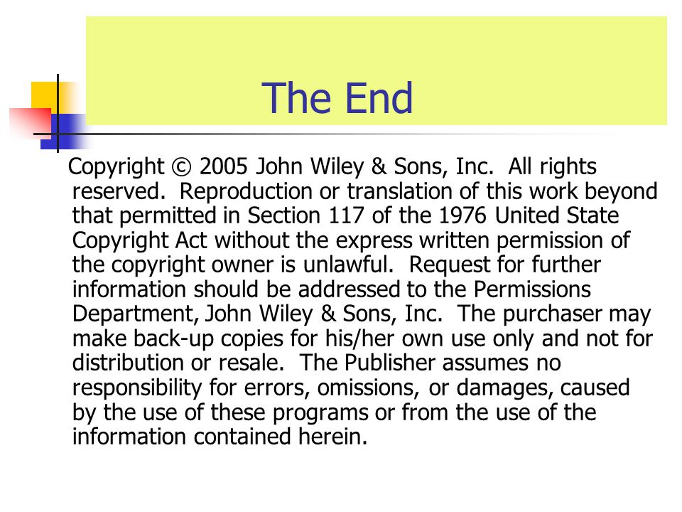 The End Copyright © 2005 John Wiley & Sons, Inc. All rights reserved.
