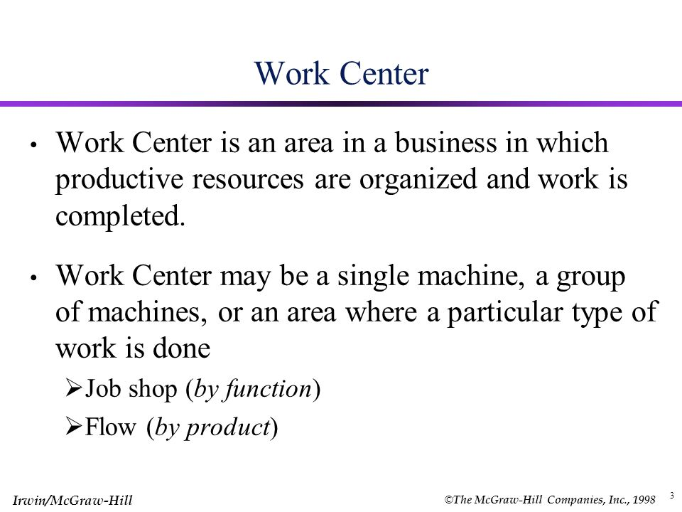 © The McGraw-Hill Companies, Inc., 1998 Irwin/McGraw-Hill Module 11 Operations Scheduling Chapter 16 (pp ) Work Center and definitions  Objectives of scheduling  Job sequence Priority Rules and Techniques  Scheduling n jobs on ONE machine  Scheduling n jobs on TWO machines Shop Floor Control  Tools for shop floor control  Principles
