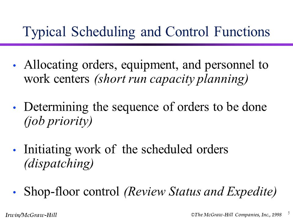 © The McGraw-Hill Companies, Inc., 1998 Irwin/McGraw-Hill 4 Capacity and Scheduling Capacity Consideration Infinite loading (no consideration to capacity) Finite loading Type of Scheduling Backward scheduling (MRP) (latest starting date) Forward scheduling (earliest completion date) Resources to Schedule Machine –limited Labor -Limited Refer to Exhibit 16.1