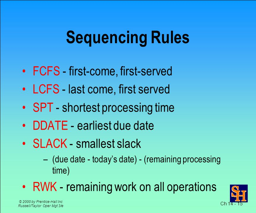 Ch © 2000 by Prentice-Hall Inc Russell/Taylor Oper Mgt 3/e Sequencing Prioritize jobs assigned to a resource If no order specified use first-come first- served (FCFS) Many other sequencing rules exist Each attempts to achieve to an objective