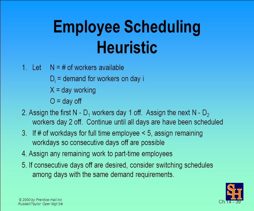 Ch © 2000 by Prentice-Hall Inc Russell/Taylor Oper Mgt 3/e Employee Scheduling Labor is very flexible resource Scheduling workforce is complicated repetitive task Assignment method can be used Heuristics are commonly used