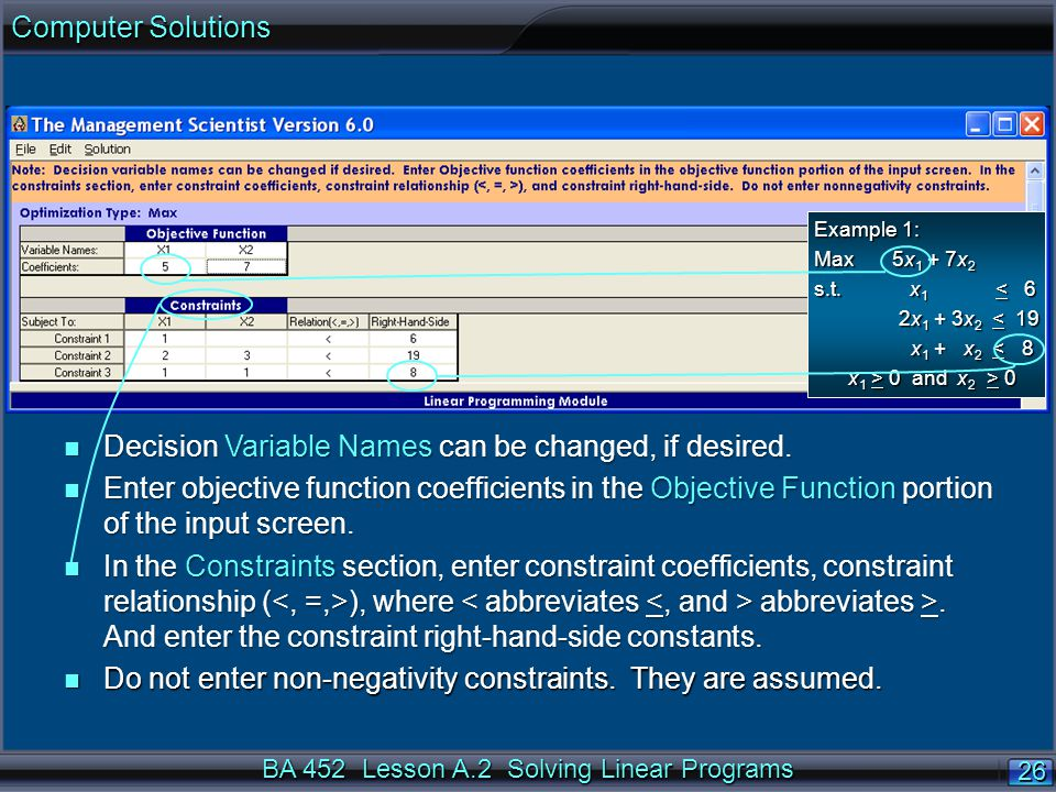 BA 452 Lesson A.2 Solving Linear Programs 26 n Decision Variable Names can be changed, if desired.