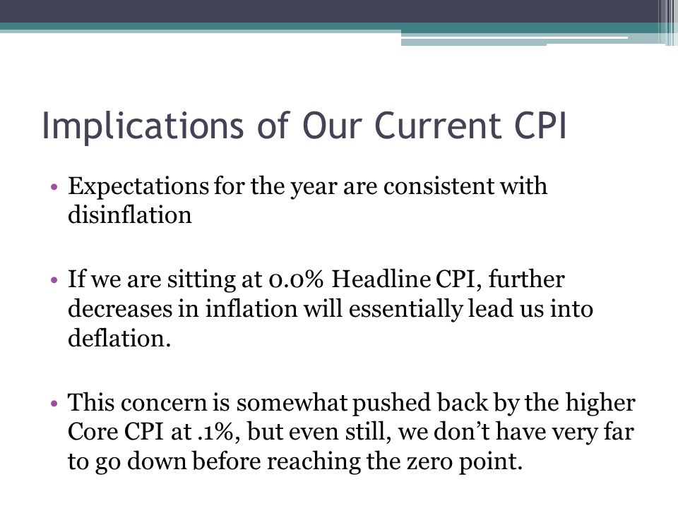 Implications of Our Current CPI Expectations for the year are consistent with disinflation If we are sitting at 0.0% Headline CPI, further decreases in inflation will essentially lead us into deflation.