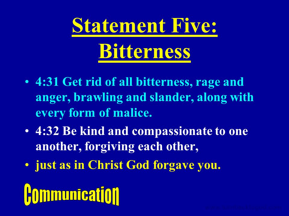 Statement Five: Bitterness 4:31 Get rid of all bitterness, rage and anger, brawling and slander, along with every form of malice.