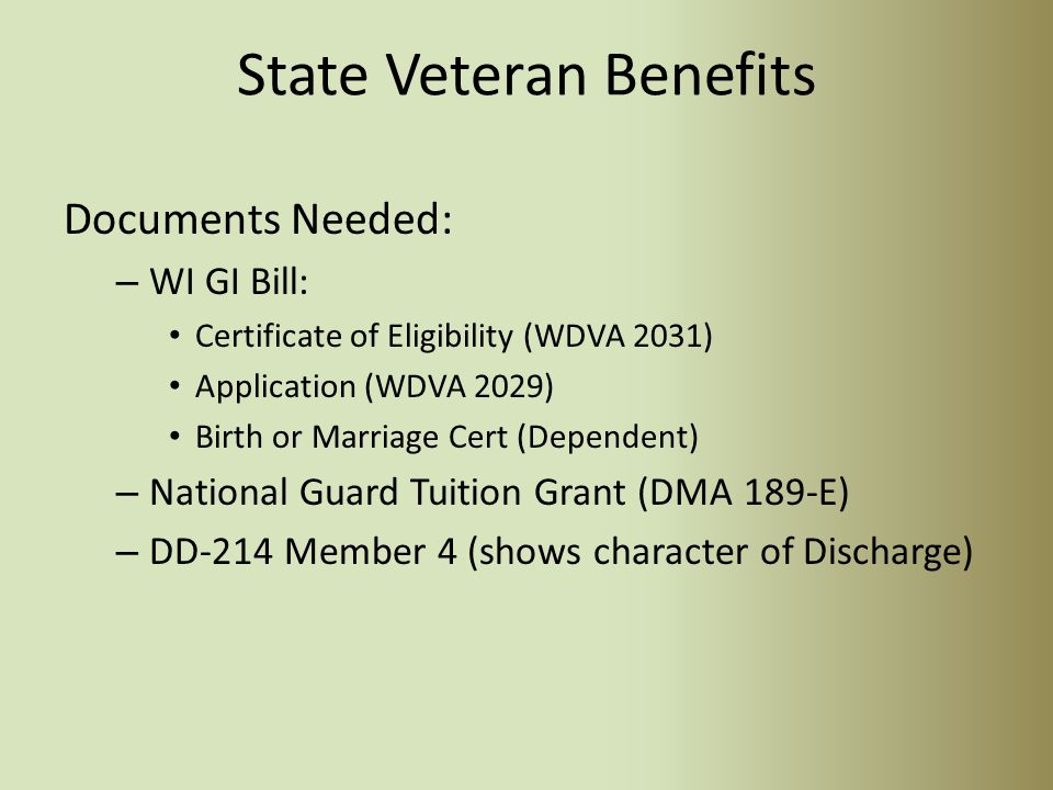 Veteran Education Benefits October 7 2014 Overview Federal Veteran