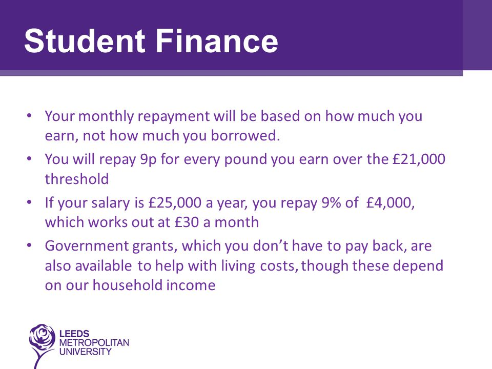 Choosing the Right Course Your monthly repayment will be based on how much you earn, not how much you borrowed.