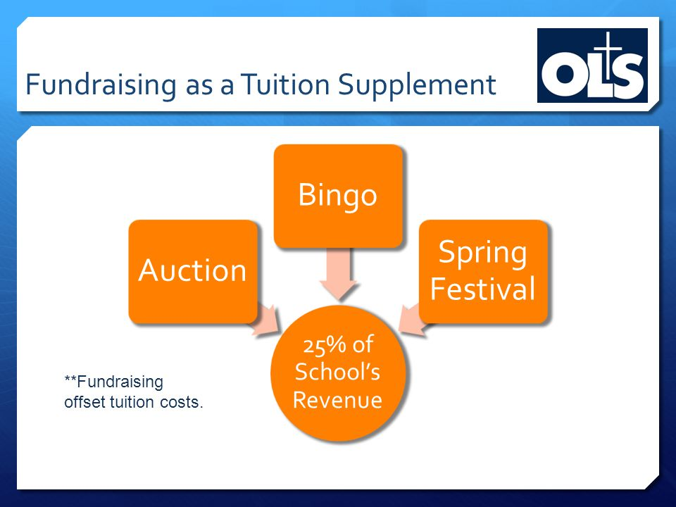 Fundraising as a Tuition Supplement 25% of School's Revenue AuctionBingo Spring Festival **Fundraising offset tuition costs.