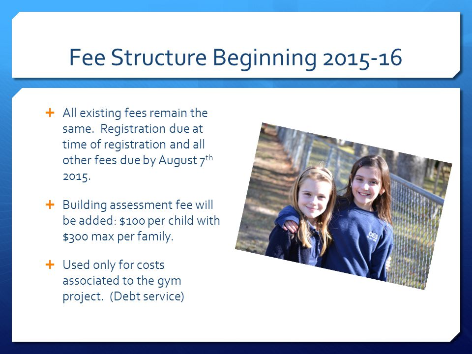 Fee Structure Beginning  All existing fees remain the same.