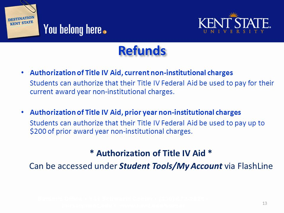 Refunds Authorization of Title IV Aid, current non-institutional charges Students can authorize that their Title IV Federal Aid be used to pay for their current award year non-institutional charges.