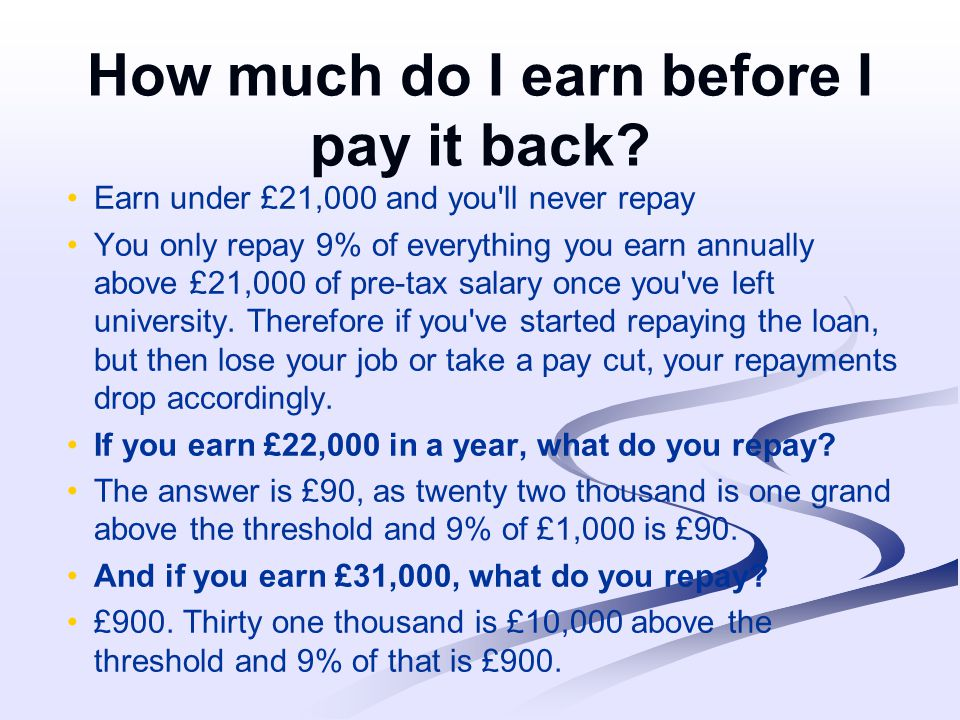 How much do I earn before I pay it back.
